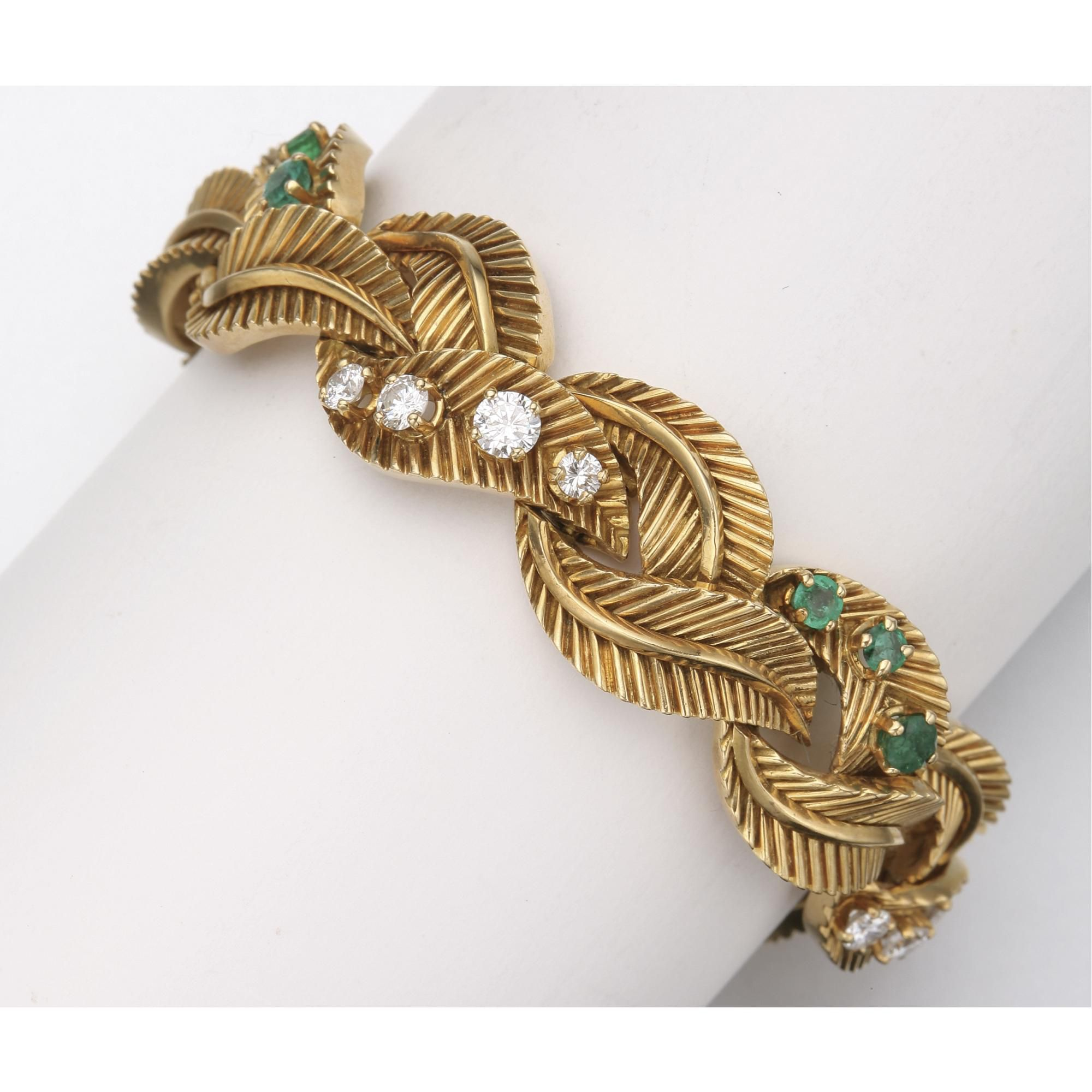 Gold diamond and emerald bracelet van cleef u arpels france