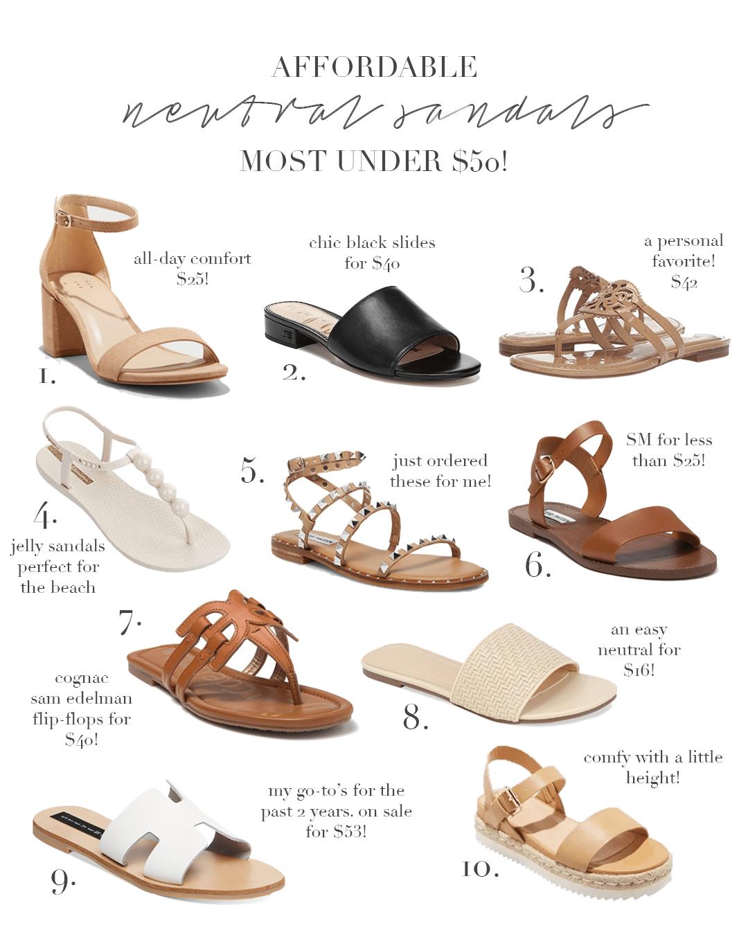 Affordable sandals, Neutral sandals