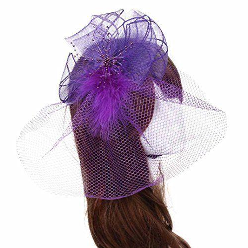 DZT1968(TM)Women Wedding Fascinator Headband Veil Feather