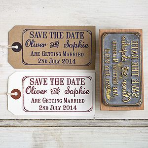 Save The Date Rubber Stamp With Border Cards