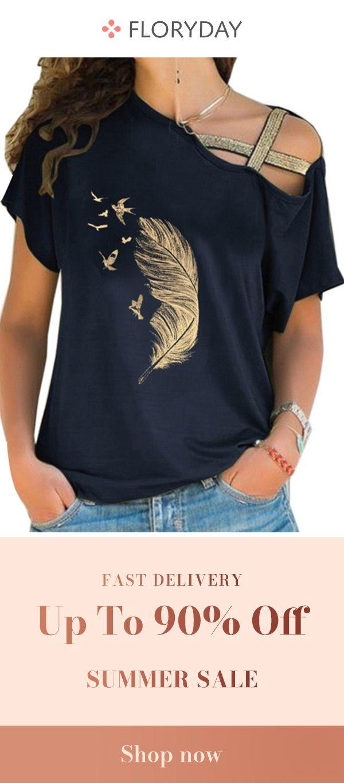 Oblique neckline short sleeve t-shirt