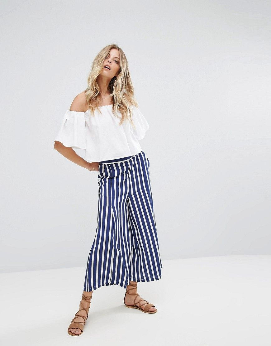 Mango Stripe Wide Leg Pants - Blue by  Mango  ASOS (US)   Summer style e7e5e295d8