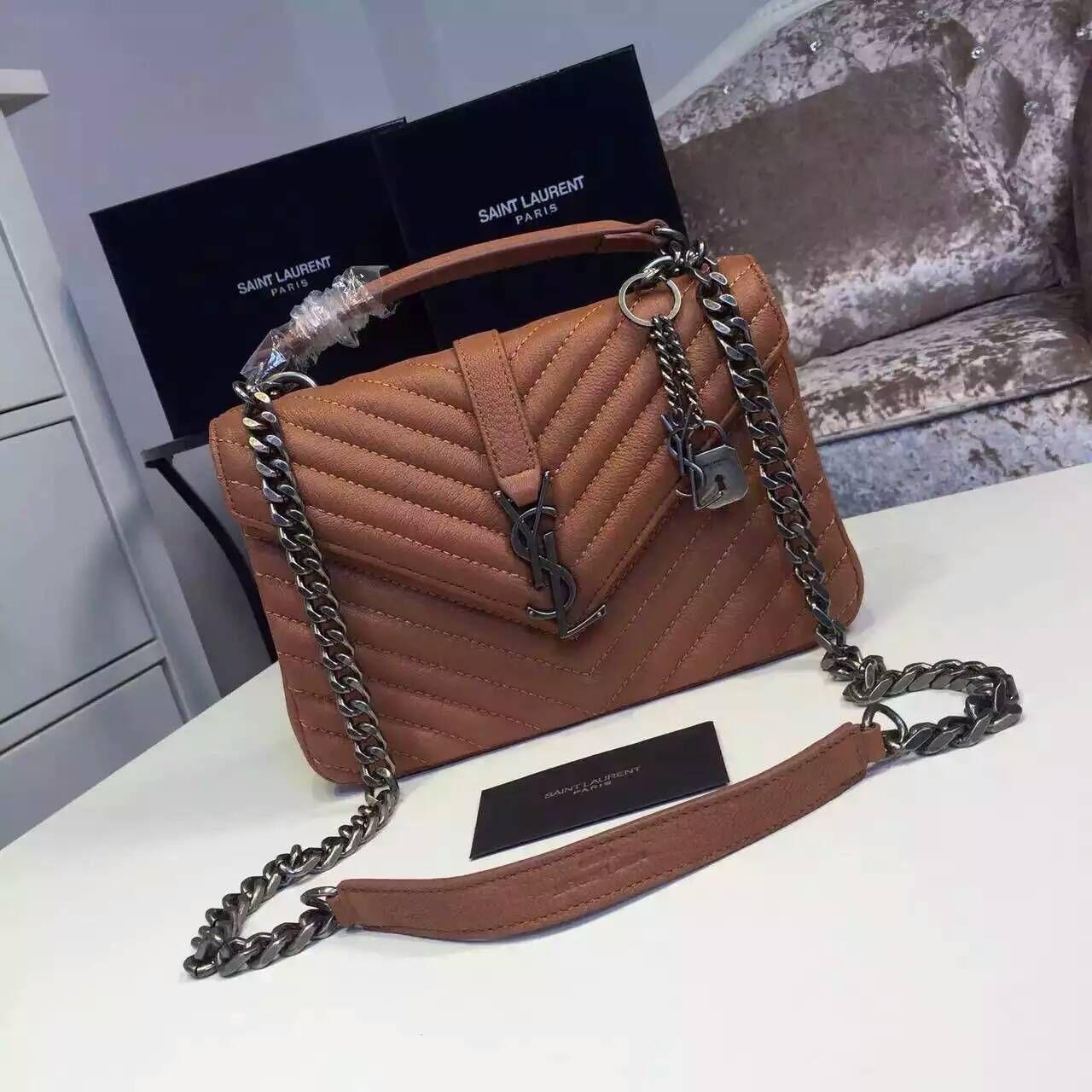 2016 New Saint Laurent Bag Cheap Sale-Saint Laurent Classic Medium COLLEGE MONOGRAM  Bag in Light Brown MATELASSE Leather 9c33918c1b