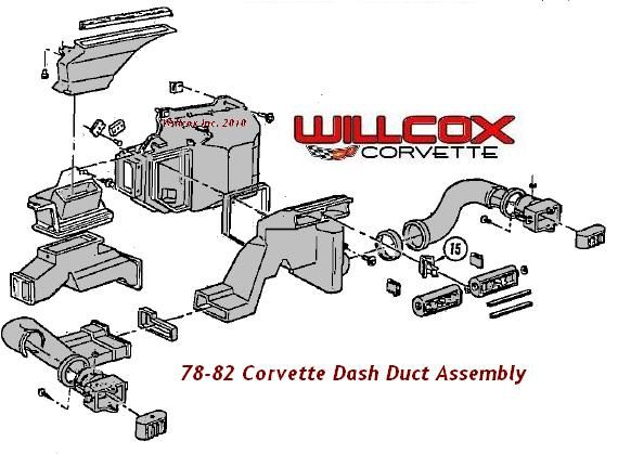 1978 1982 Corvette Dash Ducts Exploded View Corvette Corvette Grand Sport Corvette C3