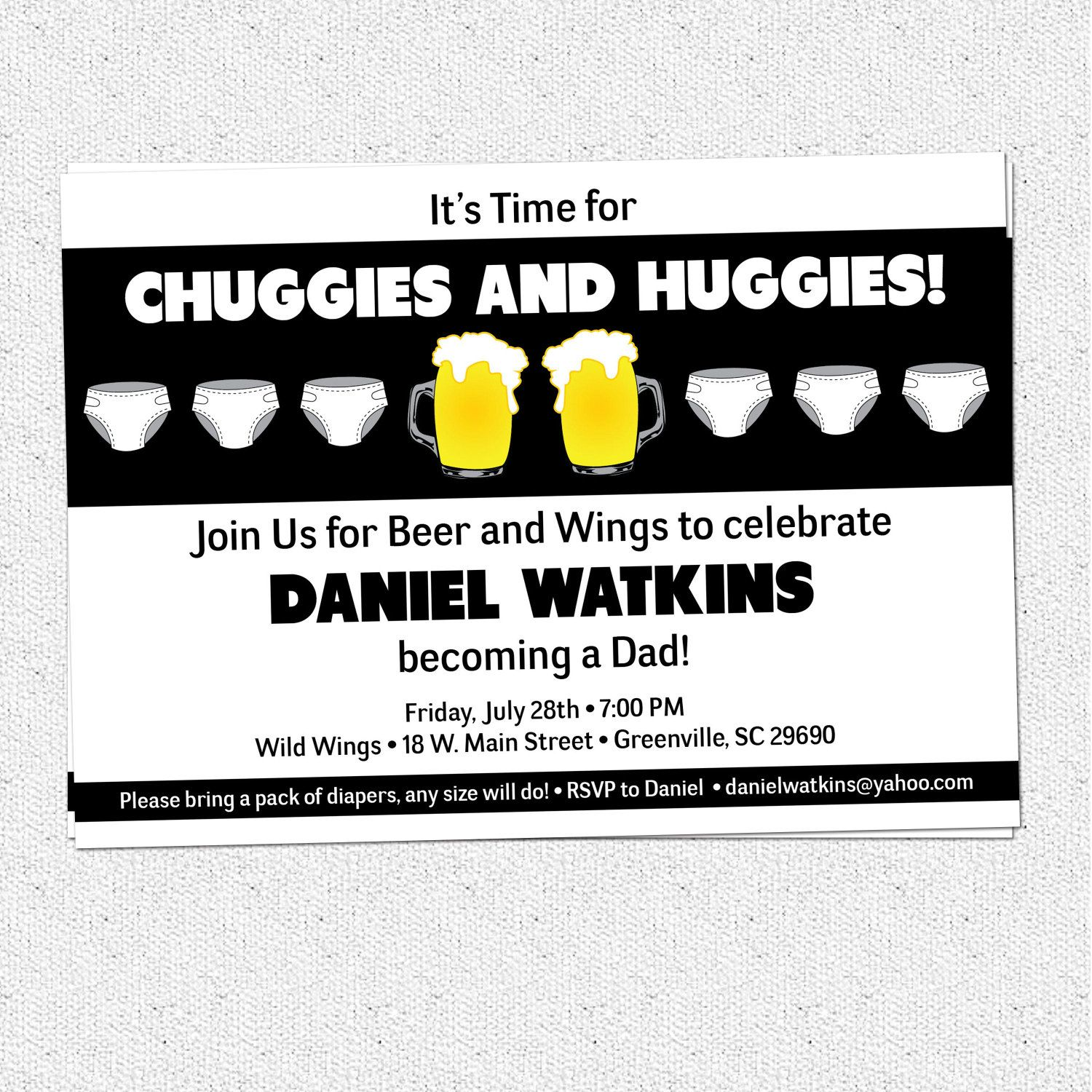 Chuggies, Beer and Diaper Party Invitation, Babies, for Men, Dad\'s ...