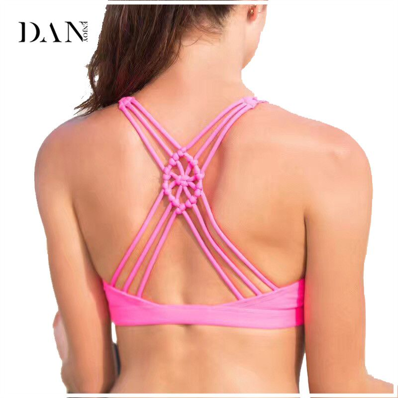577d889379c DANENJOY Sports Bra Crop Top Fitness Gym Women Vest Chinese Knot Padded Yoga  Bras Training Tank