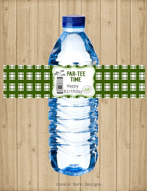 Golf Birthday Party Water Bottle Labels, Golf Retirement