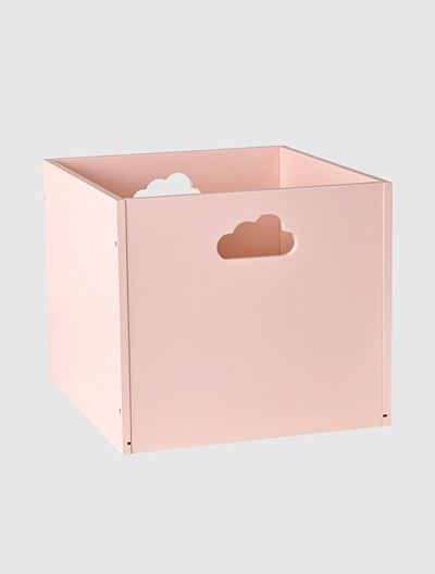 Perfect Holz Aufbewahrungsbox mit Wolken Griffen GRAU ROSA WEI