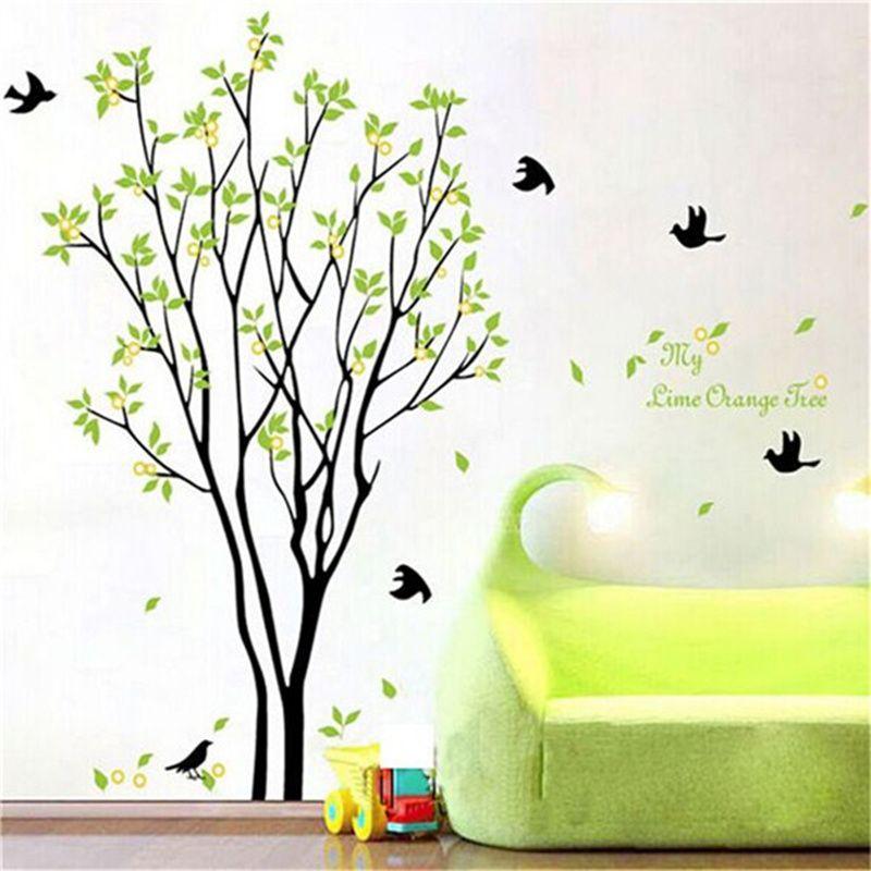 verwijderbare groene boom bladeren vogel muur vinyl sticker art, Deco ideeën