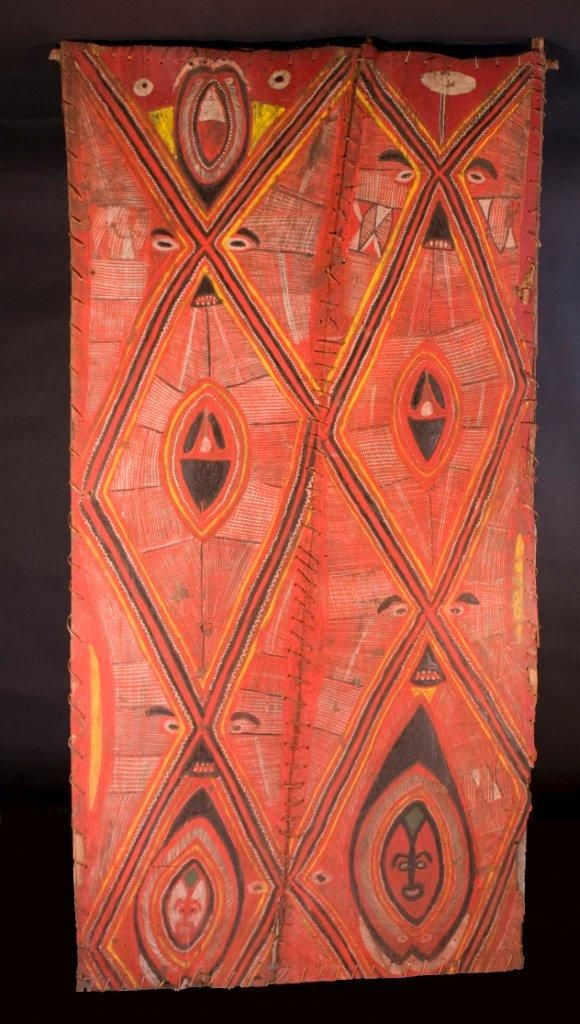 This panel from the Abelam area of Papua New Guinea in the Middle Sepik River region was probably used to decorate the ceiling or front of a ceremonial house. c. 1950. http://eklektos.arttrak.com/eklektos/gallery.cgi?cat=OC