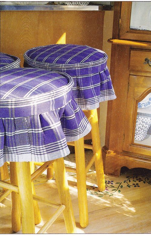 No Sew Home Decorating Dishtowel Stool Covers Made Without Sewing. Easy  Home Decorating.
