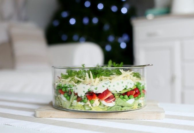 """This is a pretty layered salad.  She calls it a """"christmas salad""""  (but she's in australia) Good for summer I think."""