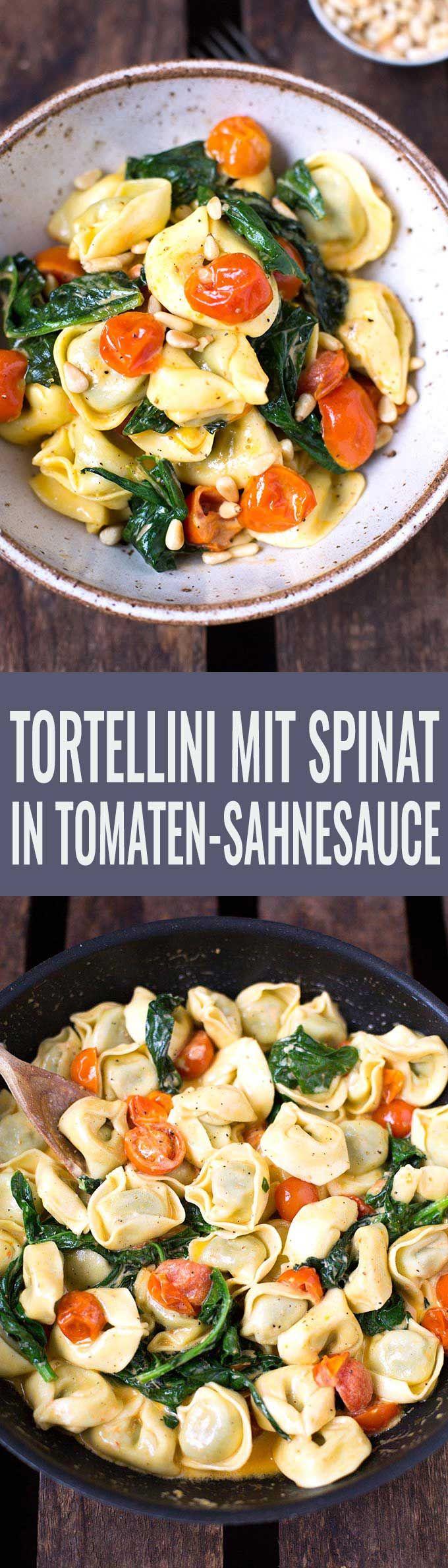 Tortellini mit Tomaten-Sahnesauce und Spinat #vejetaryentarifleri