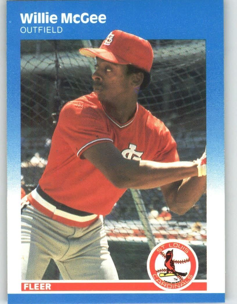 1987 fleer glossy 304 willie mcgee st louis cardinals