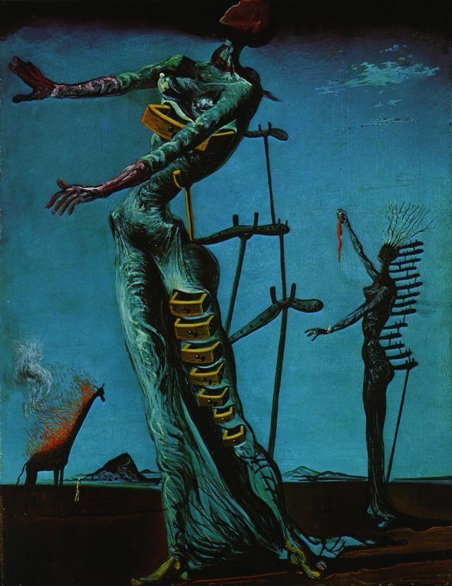 La Girafe En Feu : girafe, Jirafa, Ardiente,, Salvador, (1904-1989,, Spain), Dalí,, Pinturas, Dalí