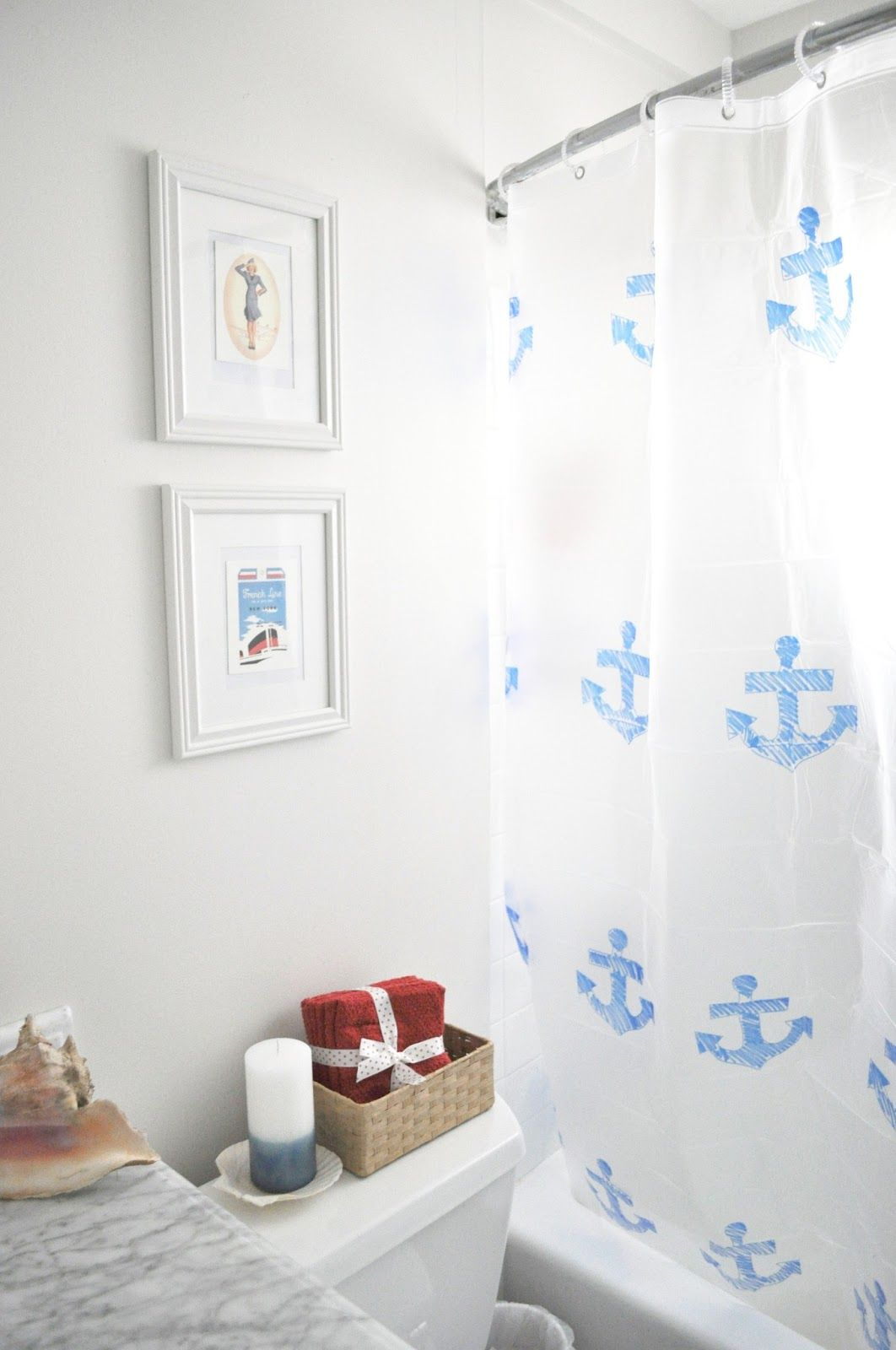 Blue and white nautical shower curtain DIY Pretty easy for Michaels ...