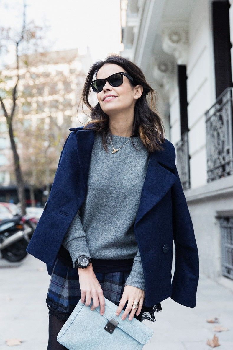Checked_Skirt-Cashmere_Sweater-Navy_Jacket-Loafers-Outfit ...