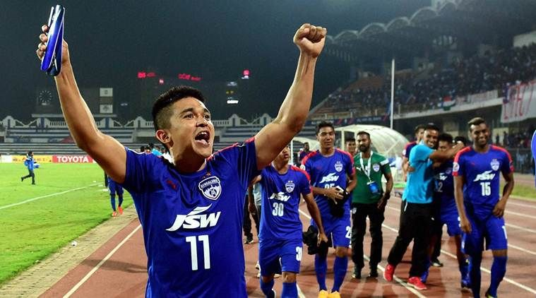Bfc Captain Sunil Chhetri Acknowledging The Fans After The Historic Win In Afc Cup Semis Basketball Game Tickets Basketball Schedule Basketball Leagues