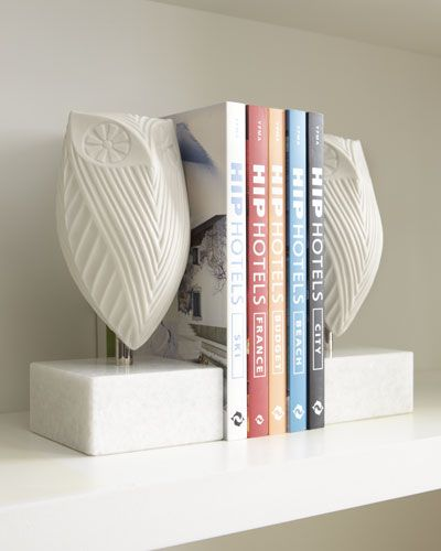 H603L Jonathan Adler Pair of Owl Bookends