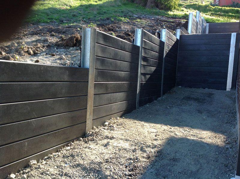 Blackwood Concrete Sleepers Building A Retaining Wall Sloped Garden Garden Design