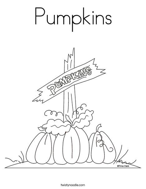 Pumpkins Coloring Page - Twisty Noodle   William\'s world   Pinterest
