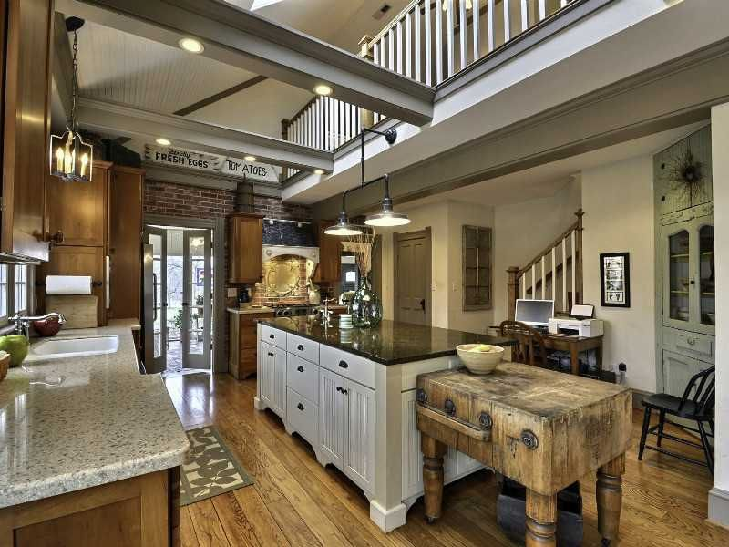 A Kitchen With Vintage Character: The Kitchen Island Was Big However The Vintage Butcher
