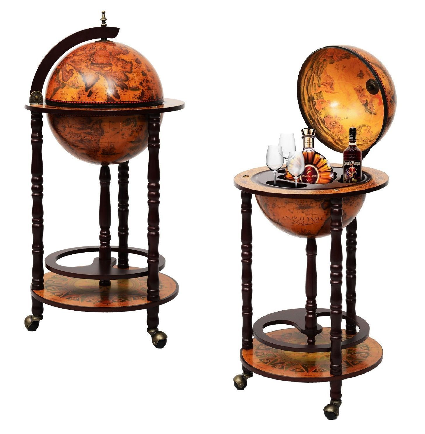 Modern Vintage Style Globe Drinks Cabinet Wine Rack Holder Cream