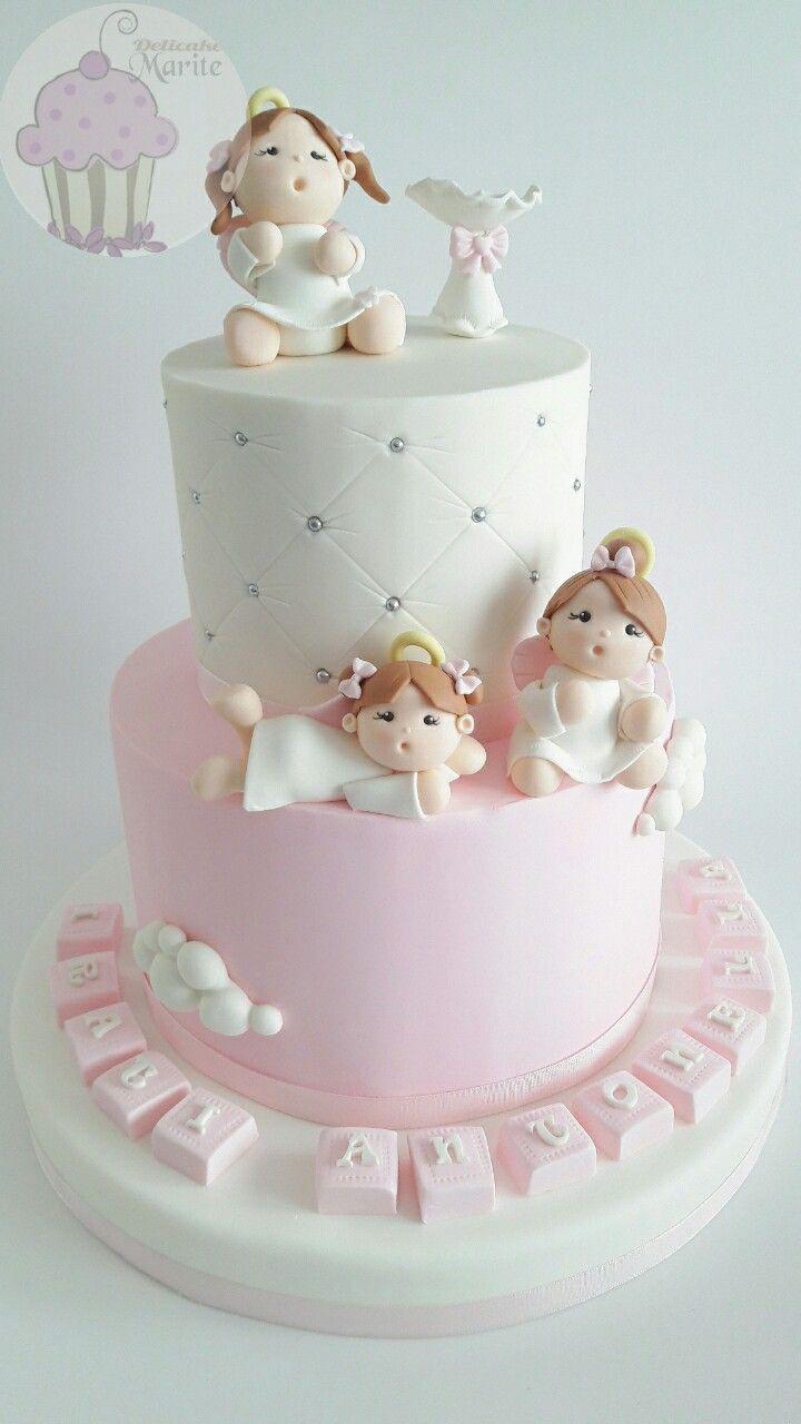 Torta bautizo de niña | tortas in 2019 | Baby shower cakes ...