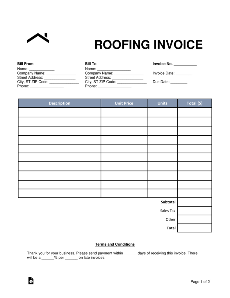 Free Roofing Invoice Template Invoice Template Word Invoice Template Estimate Template