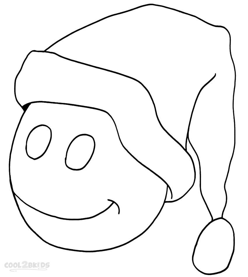 Printable Santa Hat Coloring Pages For Kids | Cool2bKids | Holiday ...