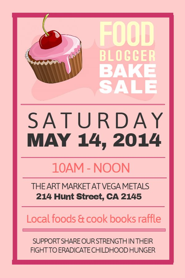 printable pink bake sale poster template