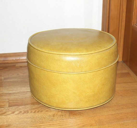 Vintage Gold Ottoman Foot Stool Footstool Small Vinyl Round Golden Hassock Gold Ottoman Vintage Gold Footstool