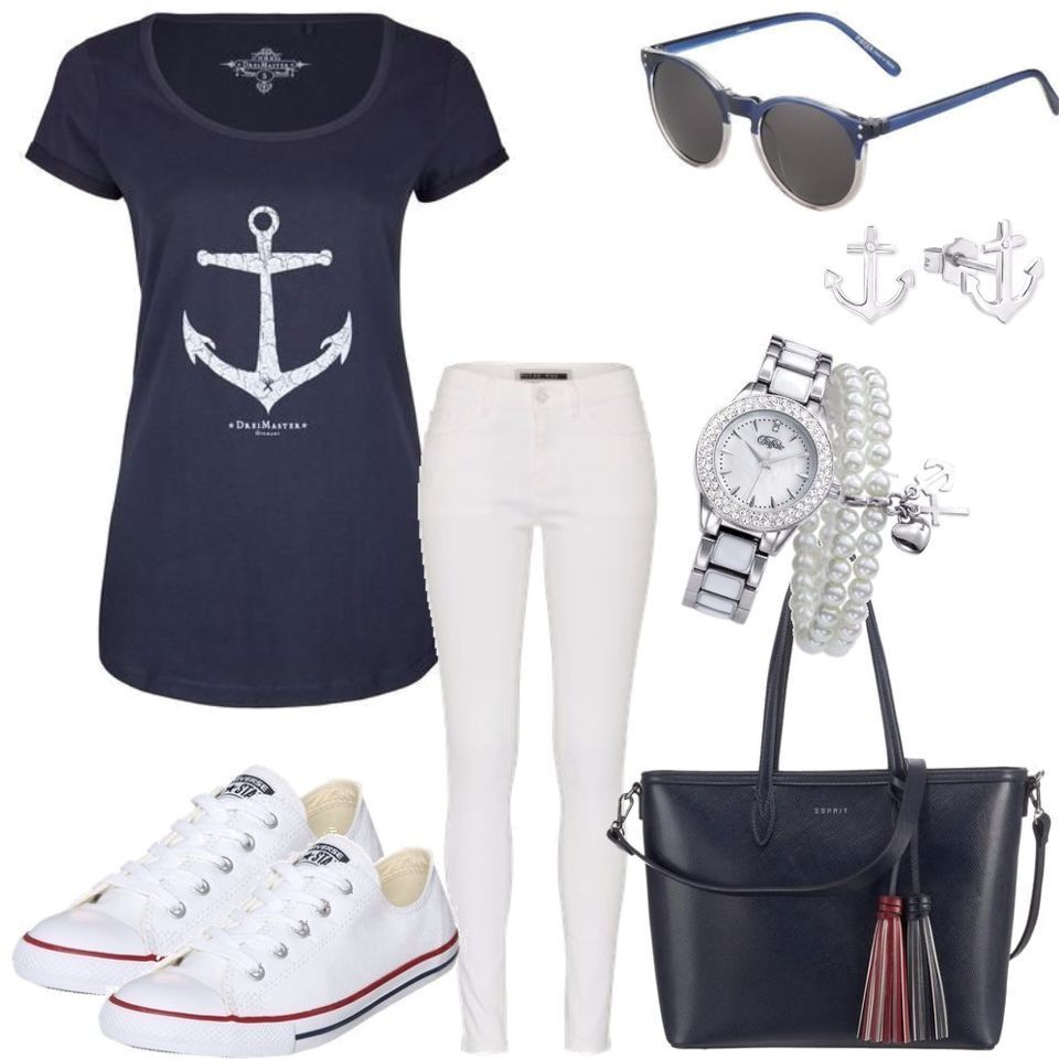 noisy may navy blue sommer outfit outfit f r damen zum. Black Bedroom Furniture Sets. Home Design Ideas