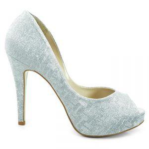 e92429cff Sapato de Noiva Peep Toe Laura Porto - Prata - MH931   Sapatos de Noivas