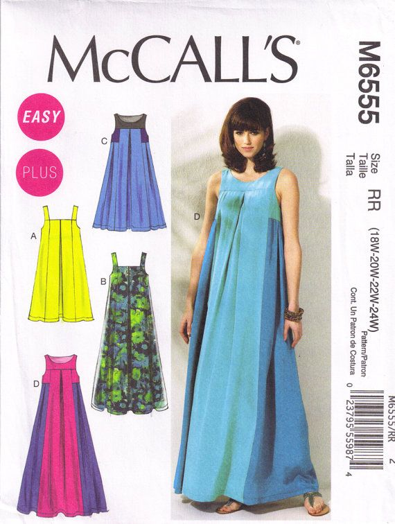 McCalls 6555 Caftan Tent Dress Sewing pattern Plus Size 18w, 20w 22w ...