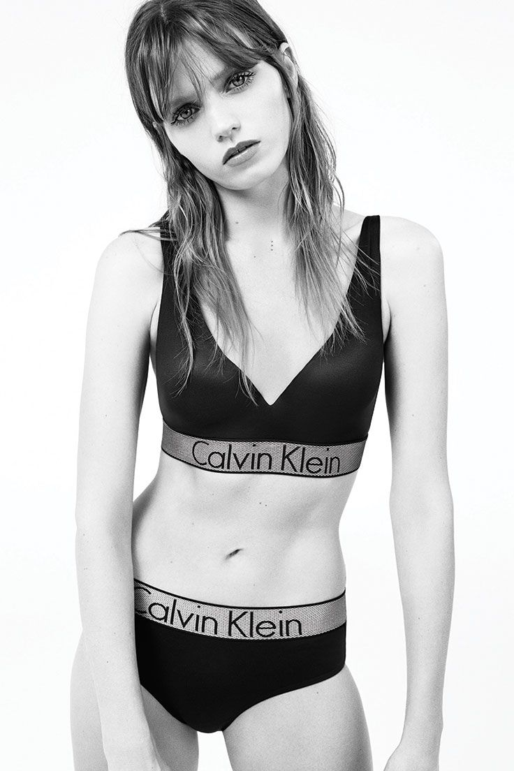 229446e2cea7a Model Abbey Lee wears the new Customized Stretch micro plunge push up bra  and hipster from Calvin Klein Underwear.  mycalvins