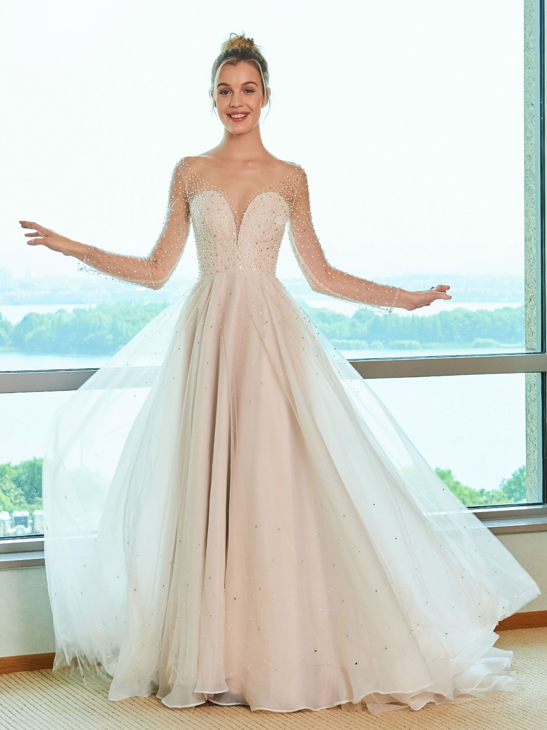Illusion neck beading long sleeve wedding dress in married in