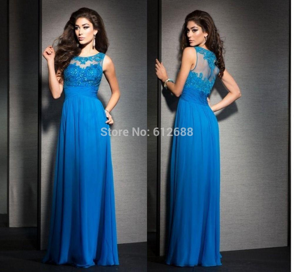 >> Click to Buy << 2016 new arrival Fashion vestido de festa Scoop A-line Cap Sleeve Lace Chiffon Blue long Formal Mother evening dress #Affiliate