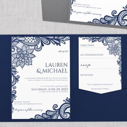 Ornate Lace Pocket Wedding Invitation Template Navy Blue Wedding