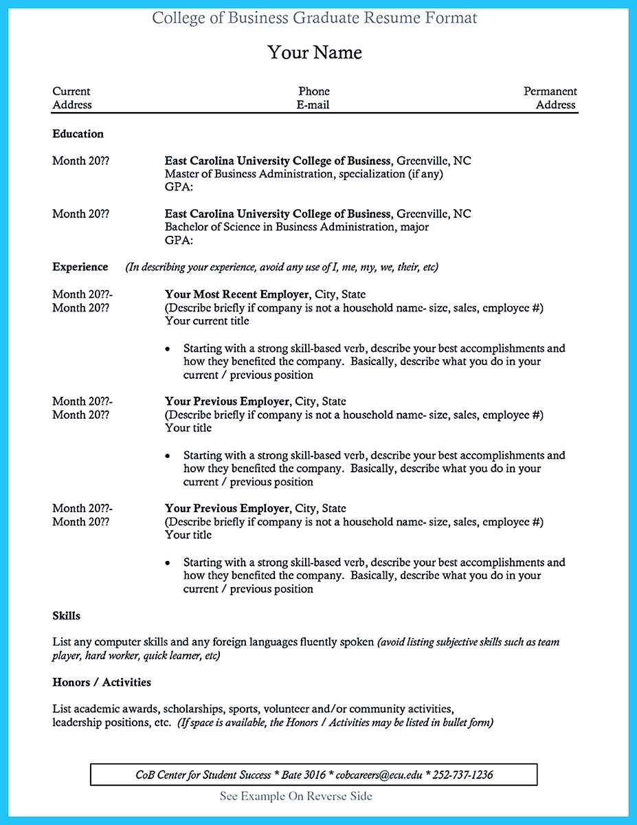 Resume After College Cool Special Guides For Those Really Desire Best Business School