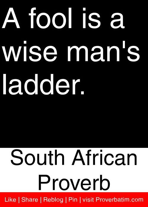 A Fool Is A Wise South African Proverb Proverbatim African Quotes African Proverb Proverbs