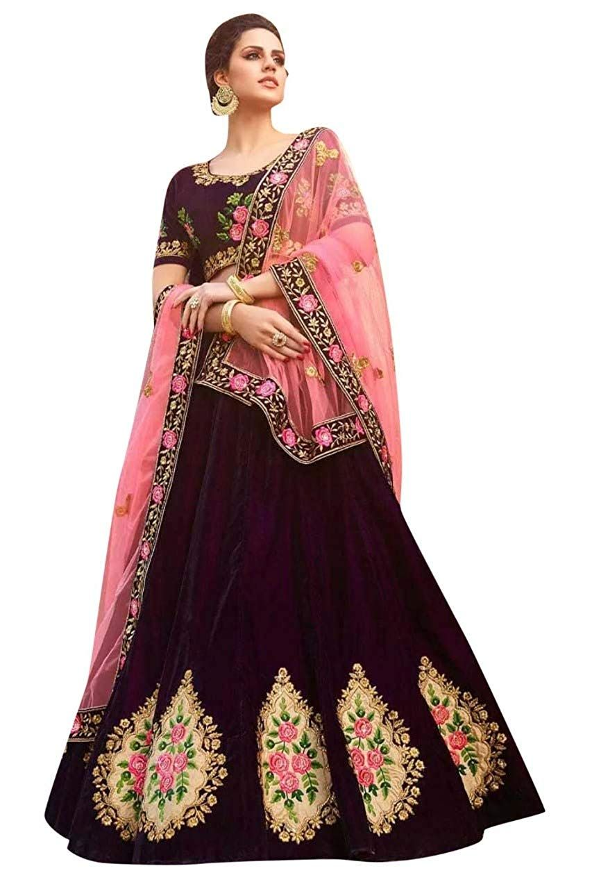 18346d88c4 Womens Clothy Womens Silk Embroidered Semi stitched Lehenga choli with  dupatta Set (Free size_Chickoo Butta): Amazon.in: Clothing & Accessories