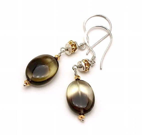 Luxe Bio Quartz Dangle Earrings Oval Khaki Green Mixed Metals Cool Gold Silver Ooak Neutral Lux