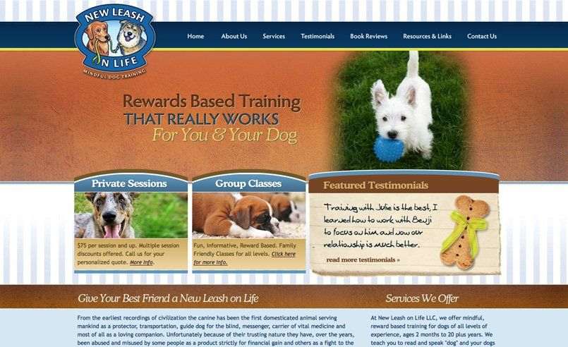 Web Design For A Dog Training Company In Passaic County Nj
