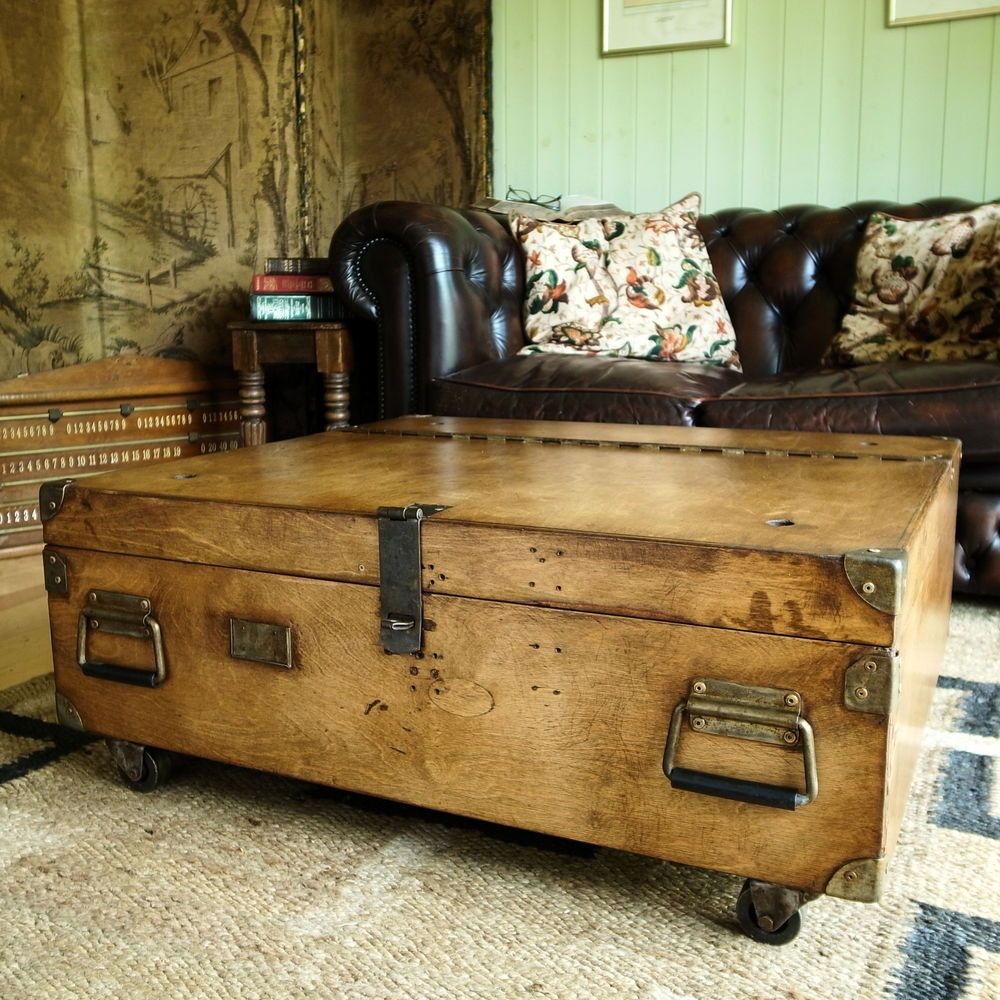 VINTAGE MILITARY CHEST Coffee Table MID CENTURY INDUSTRIAL CHEST ...