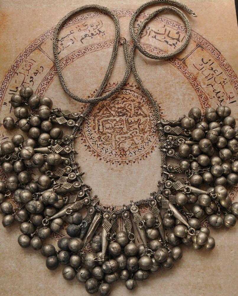 Antique Yemen Yemeni Silver dangle pendants Necklace Choker