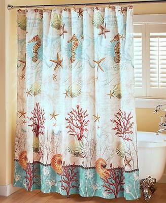 OCEAN LIFE SHOWER CURTAIN Sea Horse Shell Coral Star Fish Beach Coastal Nautical