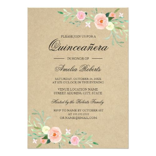 rustic floral boho quinceanera invitation in 2018 rustic birthday