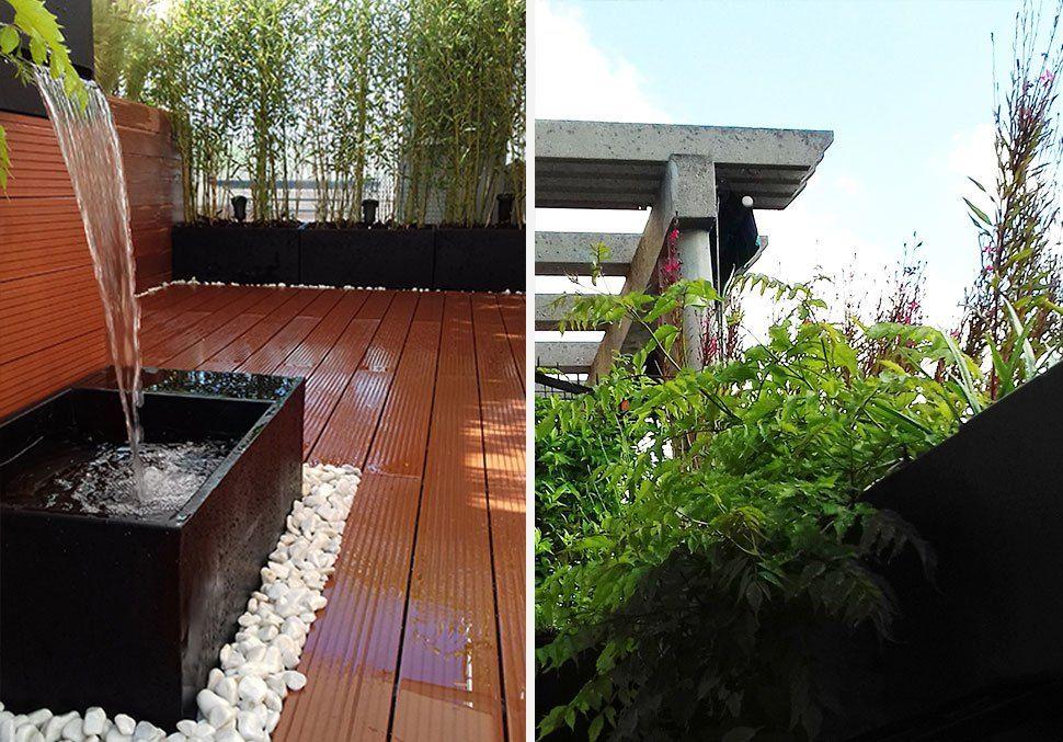 jardin en #terraza con #fuente | Jardines La Habitacion Verde ...