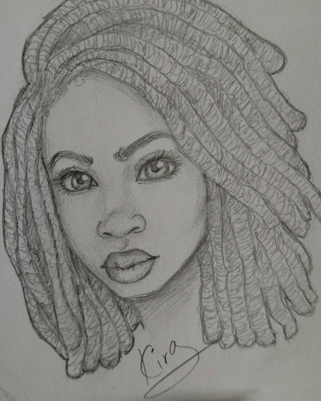Kiratheartist Art Girl Drawing Sketches Afro Art